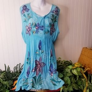 Floral sleevless Turquoise Dress